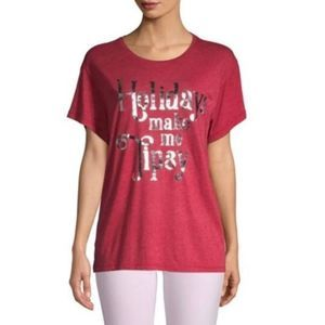 "Wildfox red heathered ""Holidays Make Me Tipsy"" tee"